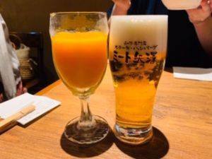 ミート矢澤のランチビールとみかんジュース